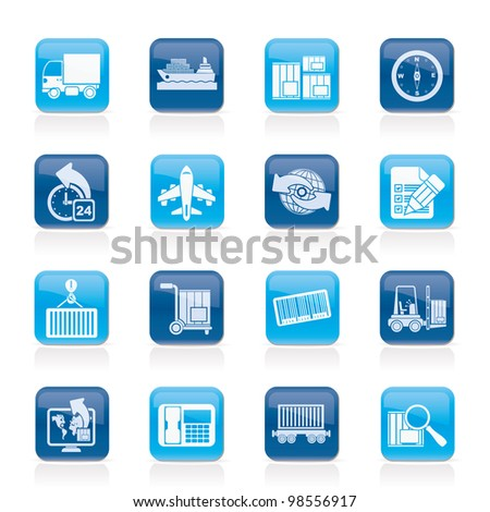 shipping and logistics icons - vector icon set - stock vector