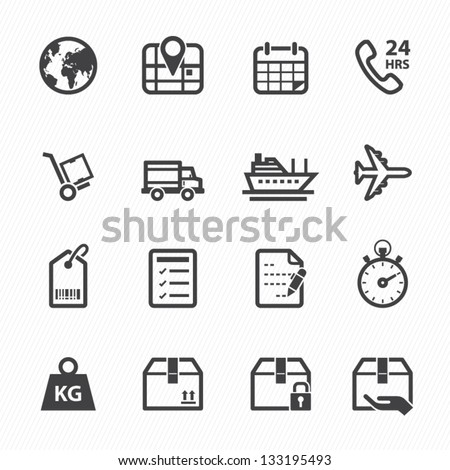 Shipping and Logistics Icons with White Background - stock vector