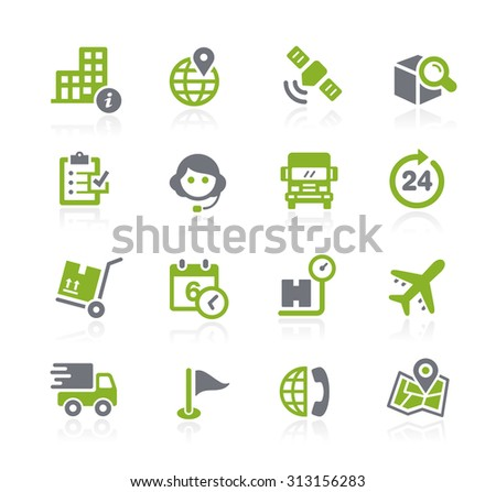 Shipping and Tracking Icons // Natura Series - stock vector