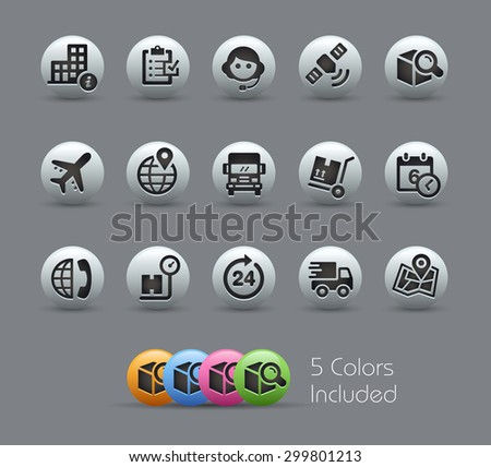 Shipping and Tracking Icons // Pearly Series ----- The Vector file includes 5 color versions for each icon in different layers ----- - stock vector