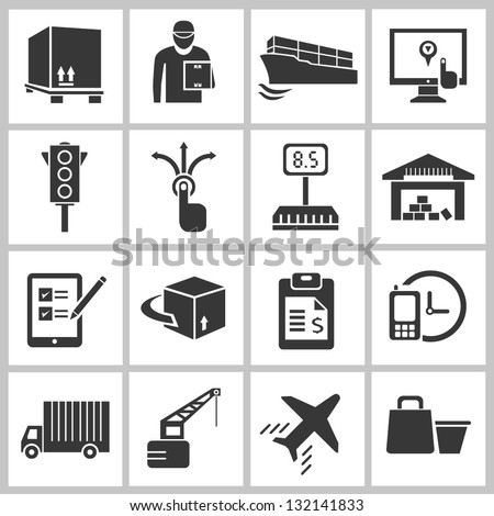 shipping and transportation concept icon set - stock vector
