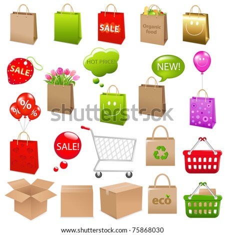 Shipping Box And Shopping Bags, Vector Illustration - stock vector