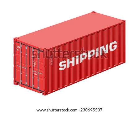 Shipping container isolated on white, realistic vector illustration  - stock vector