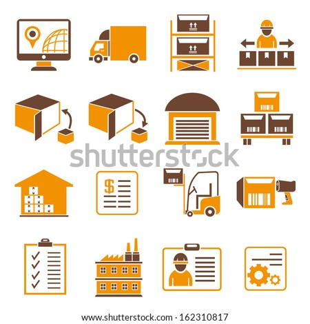 shipping icons, orange color theme - stock vector