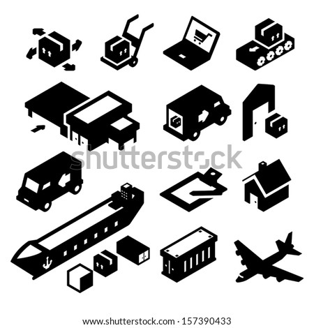 Shipping Icons two - stock vector