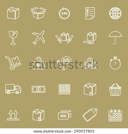 Shipping line icons on brown background, stock vector - stock vector