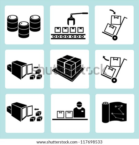 shipping management, transportation, product line, factory management, warehouse management - stock vector