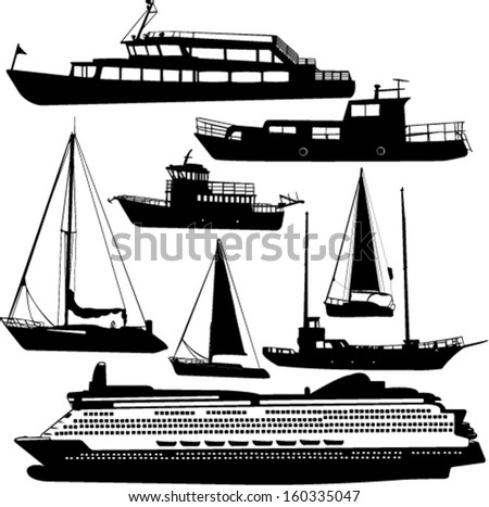 ships transportation collection vector cruiser, motor-yacht - stock vector