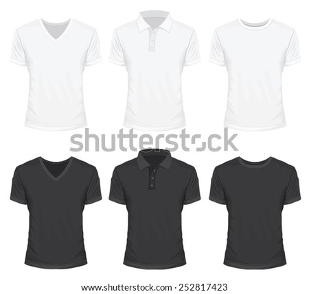 Shirt in White and Black Color - stock vector