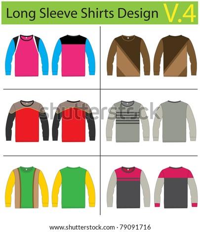 Shirt long sleeves. vector template design - stock vector
