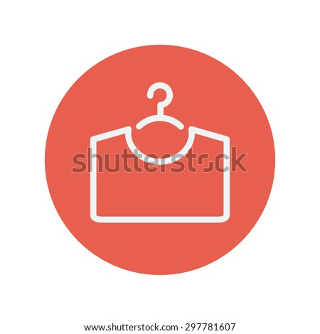 Shirt on hanger thin line icon for web and mobile minimalistic flat design. Vector white icon inside the red circle. - stock vector