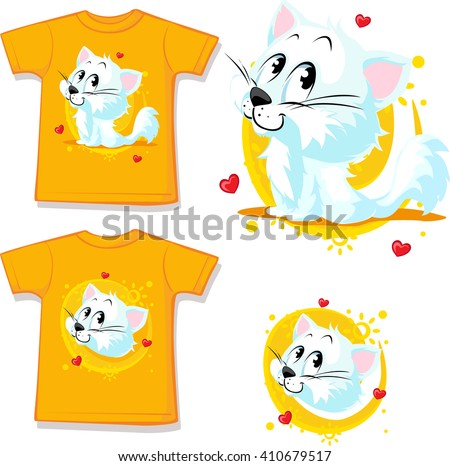 shirt with cute white cat - vector illustration - stock vector