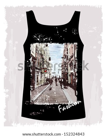 shirt with the image of the city environment - stock vector