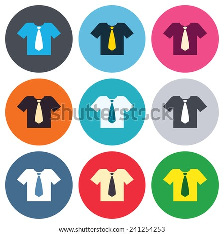 Shirt with tie sign icon. Clothes with short sleeves symbol. Colored round buttons. Flat design circle icons set. Vector - stock vector
