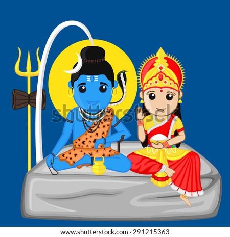 Shiva and Parvati - The Himalayan God and Goddess - stock vector
