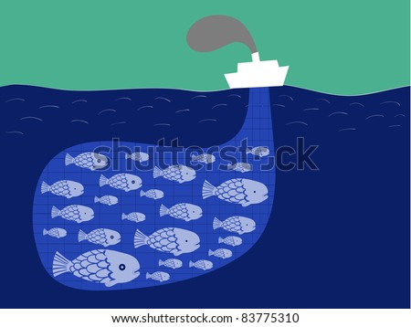 shoal of fish in the boat fishnet - stock vector