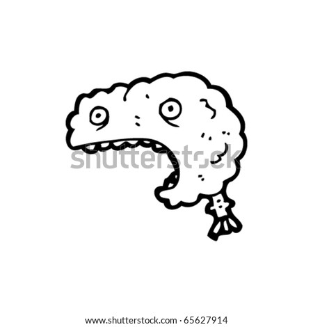 shocked brain cartoon - stock vector