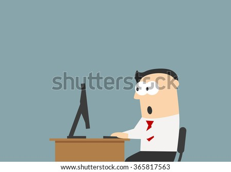 Shocked businessman sitting on his workplace and looking at the monitor screen. He reading something unbelievable. Surprise, shock, amazement, emotion and expression concept usage - stock vector