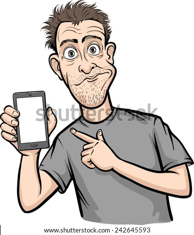 shocked man showing a mobile app on a smart phone - stock vector