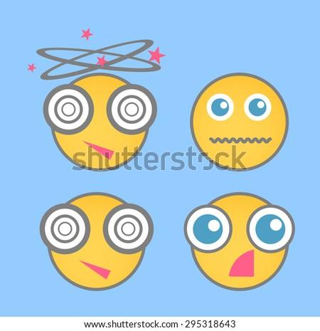 Shocked smiley vector set - stock vector