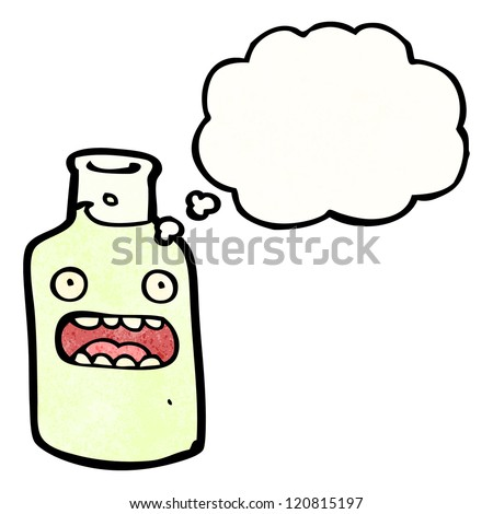 shocked wine bottle cartoon - stock vector