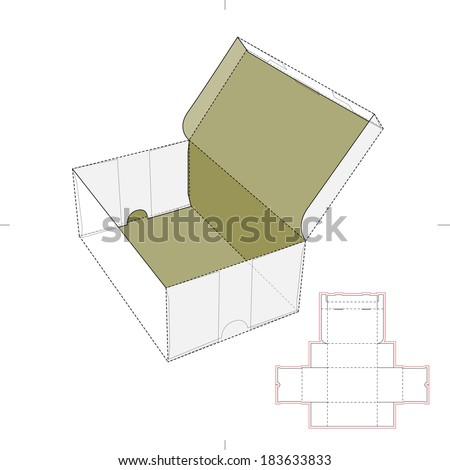 Shoe Box with Die-cut Pattern - stock vector