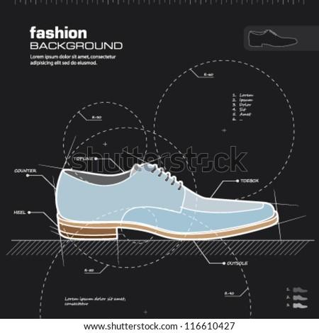Shoe design. Man shoes vector. Fashion design background. Vector illustration. Infographics, silhouette, drawing, sketch, blueprint concept. - stock vector