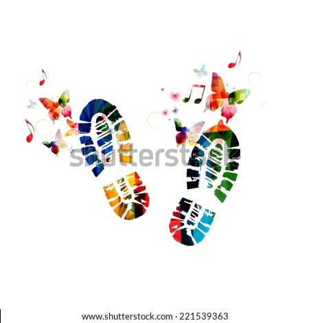 Shoe footprint design with butterflies - stock vector