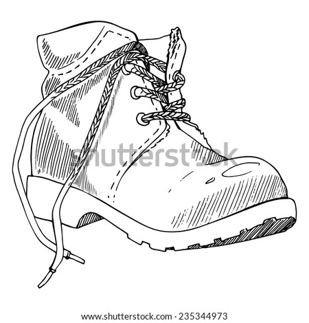 Shoe, hand-drawn in sketch style. Vector illustration of a shoe. - stock vector