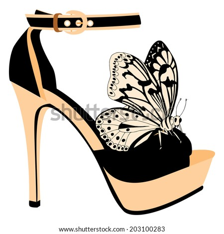 Shoe on a high heel decorated with butterfly  - stock vector