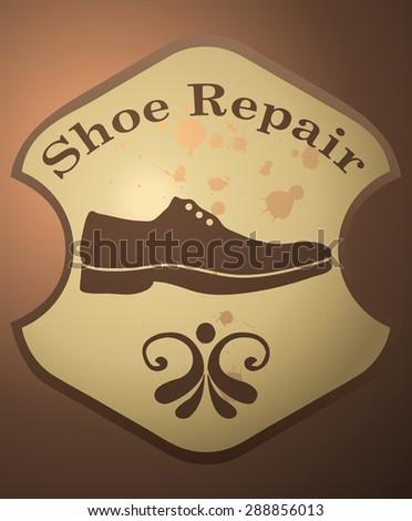Shoe Repair Retro Sign, Vector Illustration.  - stock vector