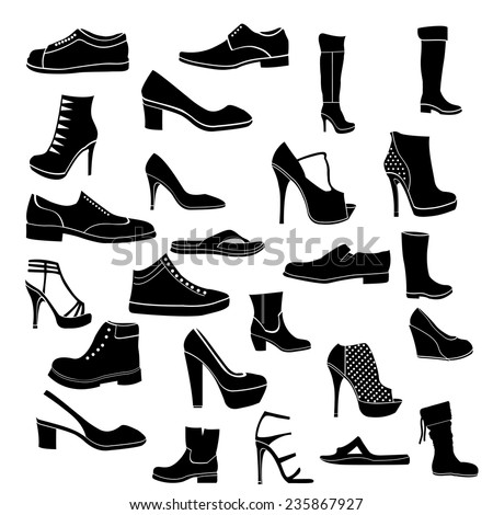 Shoes icon black and white - stock vector