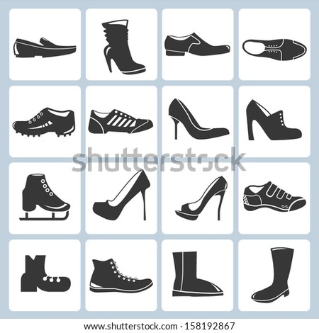 shoes icon set - stock vector