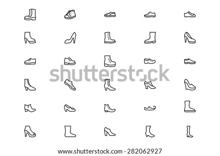 Shoes Line Vector Icons 1 - stock vector