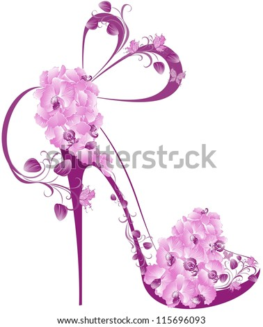 Shoes on a high heel decorated with orchids - stock vector