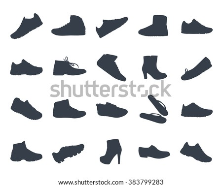 Shoes silhouettes icon set of fashion Footwear collection - stock vector