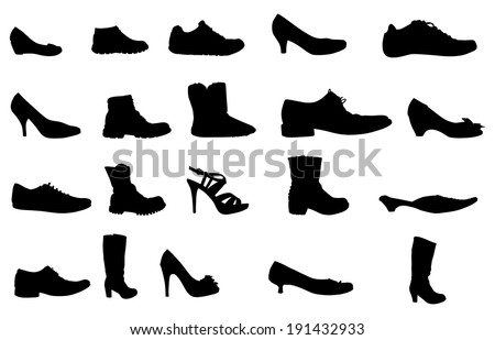 shoes silhouettes, vector - stock vector
