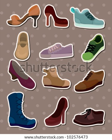 shoes stickers - stock vector