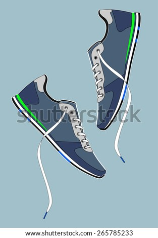 Shoes with laces. vector - stock vector