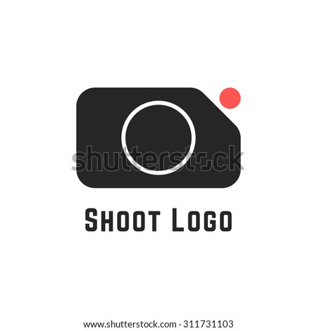 shoot logo with simple camera sign. concept of cameraman, camera icon, action camera, studio, recorder, rec cam. isolated on white background. flat style trend modern brand design vector illustration - stock vector