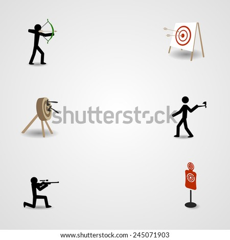 Shooting, archery and axe throwing. Eps10 - stock vector