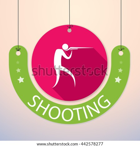 Shooting - Colorful Paper Tag for Sports - stock vector