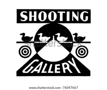 Shooting Gallery - Retro Ad Art Banner - stock vector