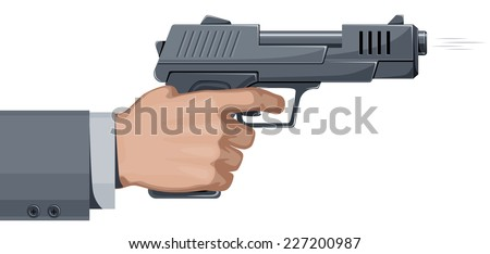 Shooting handgun. Eps8. CMYK. Organized by layers. Hand and gun separated. Gradients free. Three global colors. - stock vector