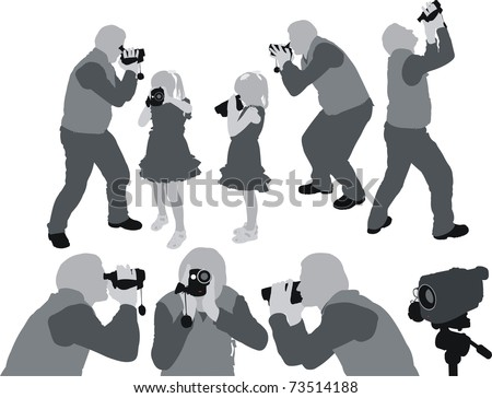 shooting home video - stock vector