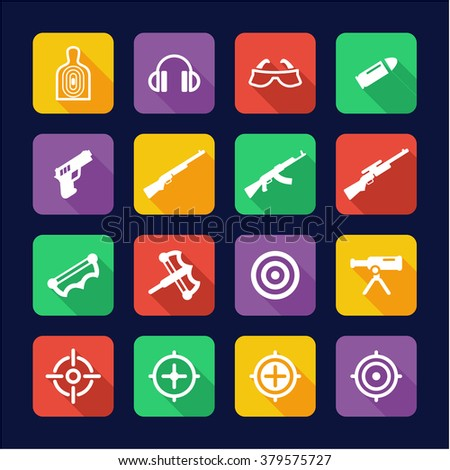 Shooting Range Icons Flat Design - stock vector