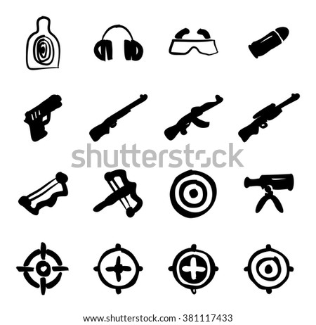 Shooting Range Icons Freehand Fill - stock vector