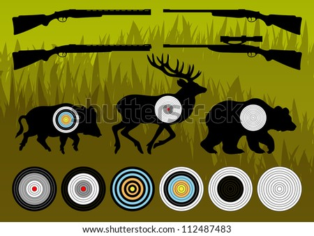 Shooting range wild boar, deer and bear hunting targets silhouettes and guns illustration collection background vector - stock vector