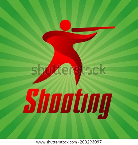Shooting sportsman on green striped background, sport icon, vector illustration - stock vector