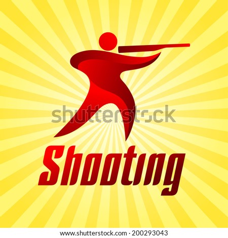Shooting sportsman on yellow striped background, sport icon, vector illustration - stock vector